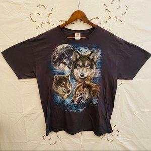 Wolf gray animal graphic oversized T-shirt